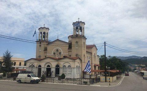 Храм праведного Иоанна Русского в Прокопионе ( остров Эвбея, Греция). Фото май 2018 г.