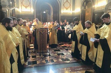 Молебен у мощей святителя Спиридона в Храме Христа Спасителя 1 октября 2018 г.